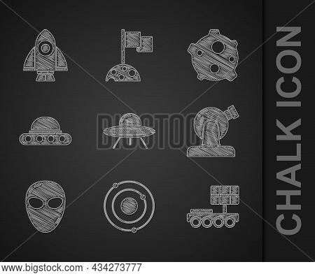 Set Ufo Flying Spaceship, Solar System, Mars Rover, Astronomical Observatory, Alien, Asteroid And Ro