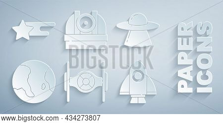 Set Cosmic Ship, Ufo Flying Spaceship, Earth Globe, Rocket, Astronomical Observatory And Falling Sta