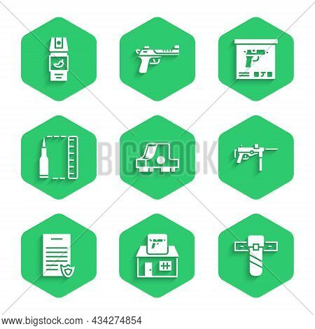 Set Collimator Sight, Hunting Shop Weapon, Knife Holster, Submachine Gun M3, Firearms License Certif