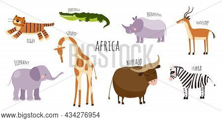 Vector Collection With African Animals. Illustration With Cute Animals For Children. Elephant, Giraf