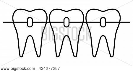 Dental Braces Icon, Orthodontic Teeth Alignment For A Beautiful Smile