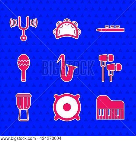 Set Musical Instrument Saxophone, Stereo Speaker, Grand Piano, Air Headphones, Drum, Maracas, Drum S