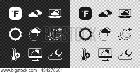Set Fahrenheit, Sun And Cloud Weather, Weather Forecast, Meteorology Thermometer, Cloud With Moon, A