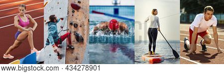 Collage About Fit Men And Women At Fitness Training Outdoors. Sport, Training, Athlete, Workout, Exe