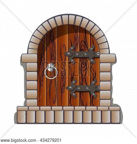 Castle Door Medieval Vector Cartoon And Fairytail Style, Realistic And Cool. Clip Art Vintage Antiqu