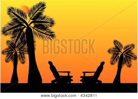Adirondack Chairs On A Tropical Paradise