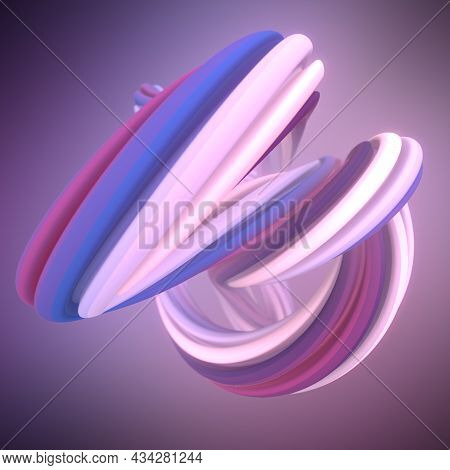 Smooth Curved Soft Line Contemporary Line Art Digital Illustration. Modern 3d Rendering Graphic Conc