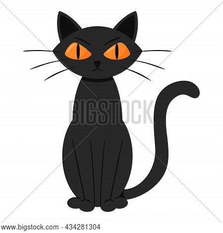 An Angry, Gloomy Black Cat Is Sitting. Flat Cartoon Style.