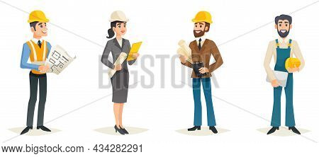 Engineers Cartoon Set With Civil Engineering Construction Workers Architect And Surveyor Isolated Ve