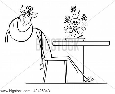 Person Dies After Eating Poisonous Or Contaminated Food , Vector Cartoon Stick Figure Illustration