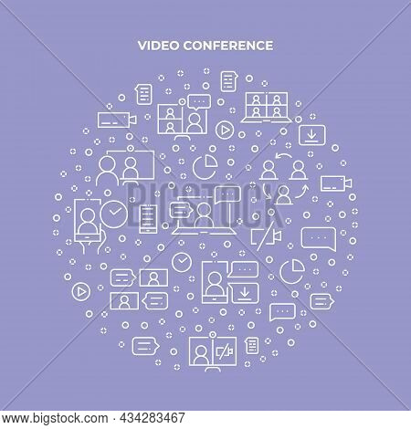 Online Meeting Circle Concept Made Of Thin Line Icons. Web Conferencing, Work From Home, Video Commu