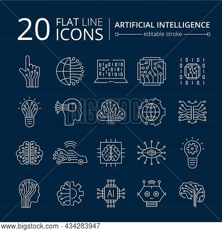 Artificial Intelligence And Machine Learning Line Icon Set. Simple Thin Outline Pictogram Collection