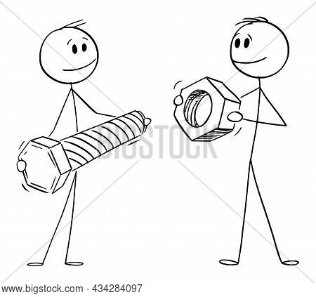 Persons Or Businessmen Holding Bolt And Nut, Cooperation And Problem Solving , Vector Cartoon Stick