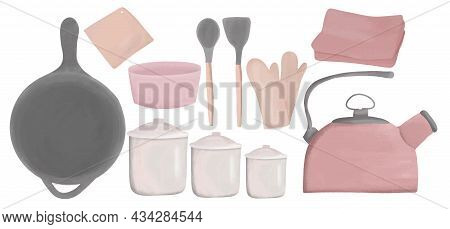 Kitchen Accessories And Tableware Set, Cooking, Kitchen Utensils Collection, Modern Flat Style, Vect