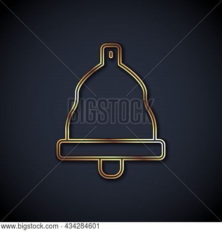 Gold Line Church Bell Icon Isolated On Black Background. Alarm Symbol, Service Bell, Handbell Sign,