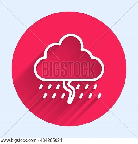 White Line Cloud With Rain And Lightning Icon Isolated With Long Shadow Background. Rain Cloud Preci