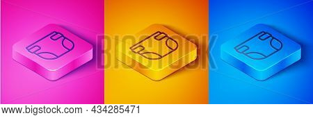 Isometric Line Baby Absorbent Diaper Icon Isolated On Pink And Orange, Blue Background. Square Butto