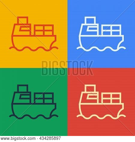 Pop Art Line Cargo Ship With Boxes Delivery Service Icon Isolated On Color Background. Delivery, Tra