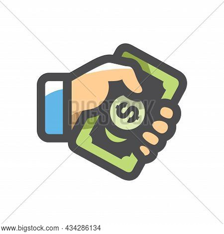 Money In Hand Vector Icon Cartoon Illustration.