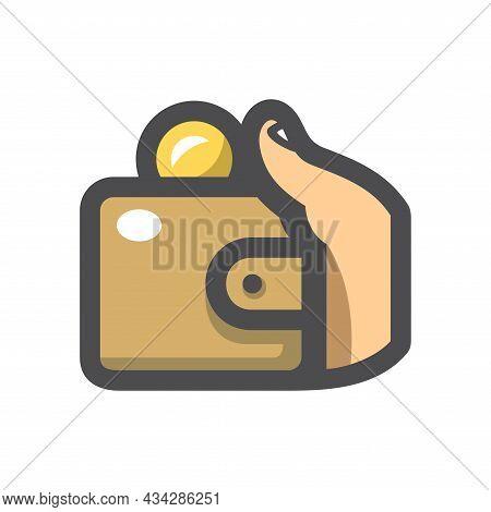 Wallet In Hand Vector Icon Cartoon Illustration