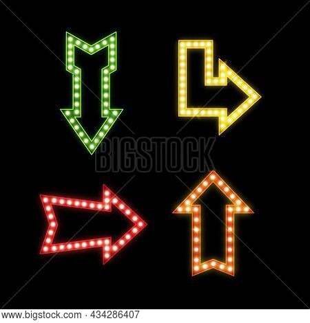 Realistic Signs With Lamps. Retro Illuminated Pointers. Glowing Symbols Of Different Forms. Bright B
