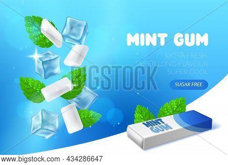 Mint Chewing Gum. Peppermint Bubblegum Pads. Realistic Advertising Banner Template. Herbal Fresh Tas