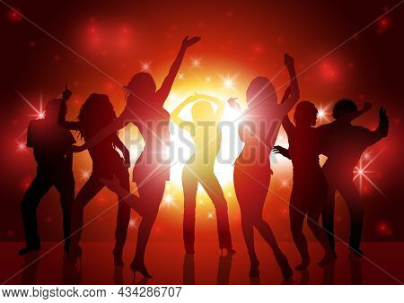 Party People Background - Dancing Silhouettes In Red Sunlight, Vector
