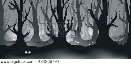 Forest With Eyes. Death Foresty Landscape With Scary Monster Eye Lights In Dark, Horror Darkness Evi
