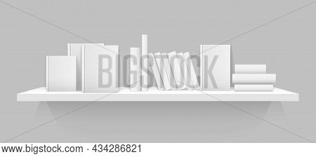 White 3d Bookshelf. Wall Shelf With White Blank Books Covers, Office Bookshelf Library Mockup With S