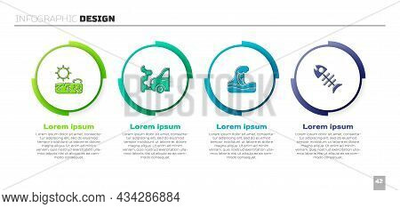 Set Drought, Car Exhaust, Tsunami And Dead Fish. Business Infographic Template. Vector