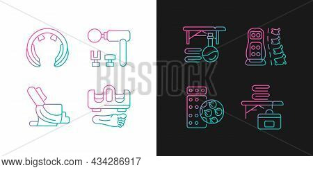 Vibrating Massagers Gradient Icons Set For Dark And Light Mode. Massage Chair. Thin Line Contour Sym