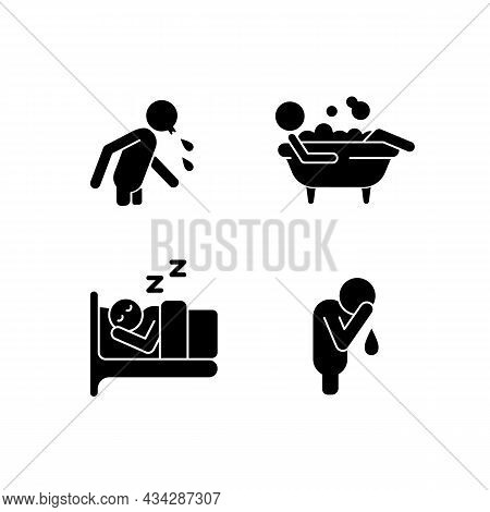 Human Actions Black Glyph Icons Set On White Space. Crying Man. Sleeping In Bed. Lying In Bubble Bat