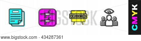 Set Document, Barbed Wire, Censored Stamp And Spy, Agent Icon. Vector