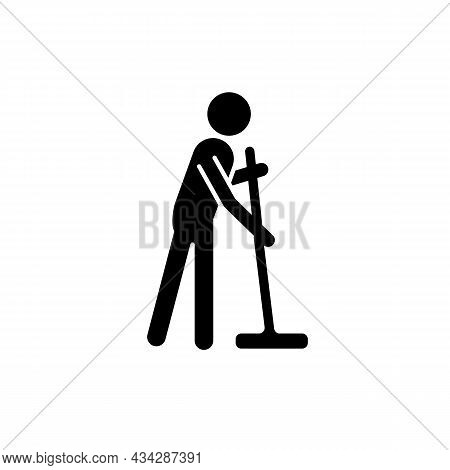 Cleaning With Mop Black Glyph Icon. Person With Mop Cleaning House. Maintain Cleanliness In Flat. Co