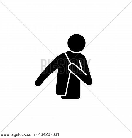 Dress Up Black Glyph Icon. Person Putting On Jacket. Man Getting Ready To Go To Work. Wearing Clothe