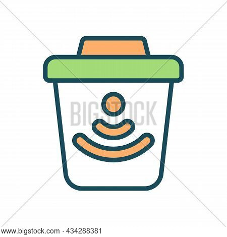 Smart Trashcan Rgb Color Icon. Garbage Bin With Waste Monitoring System. Isolated Vector Illustratio
