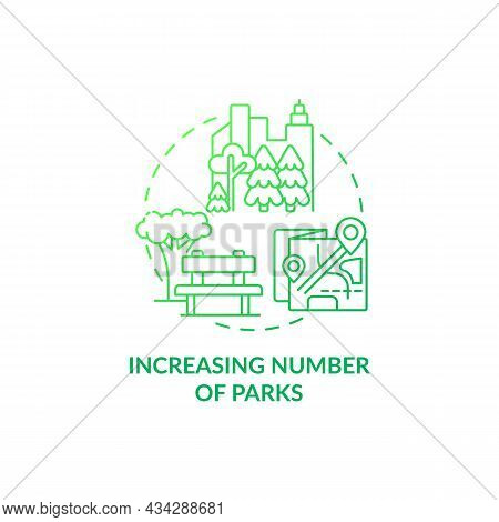 Increasing Number Of Parks Concept Icon. City Solution Abstract Idea Thin Line Illustration. Improve