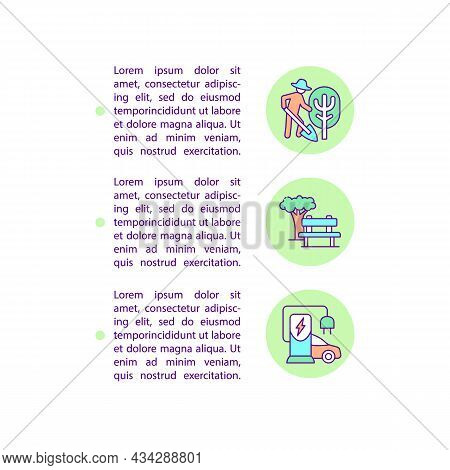 Reducing Air Pollution Concept Line Icons With Text. Ppt Page Vector Template With Copy Space. Broch