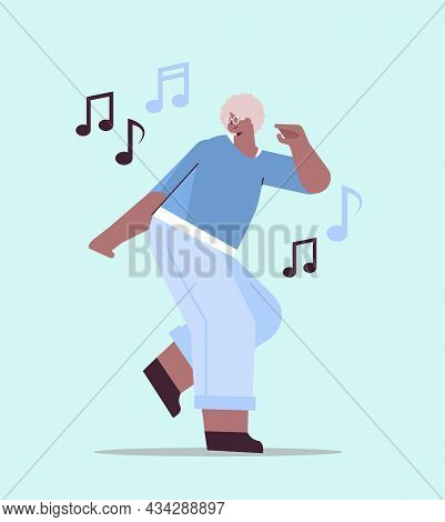 Senior African American Woman Dancing And Singing Grandmother Having Fun Active Old Age Concept