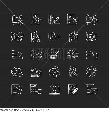 School Subjects Chalk White Icons Set On Dark Background. Humanities And Applied Sciences. Social Sc