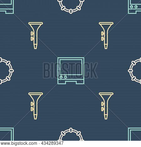 Set Line Tambourine, Drum And Drum Sticks And Voice Assistant On Seamless Pattern. Vector