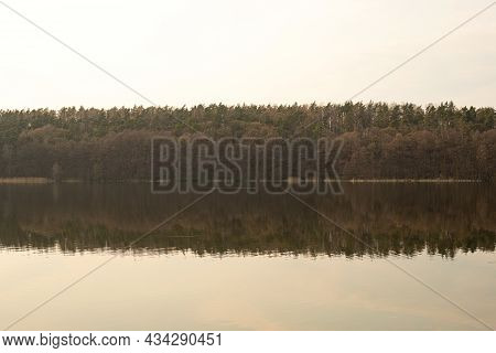 Spring, summer or autumn nature landscape panorama with trees on quiet forest lake