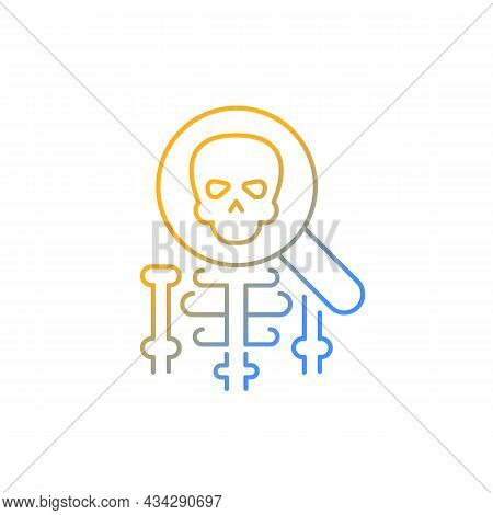Anatomy Gradient Linear Vector Icon. Human Body Structure Study. Anatomy Lessons. Skeleton Under Mag