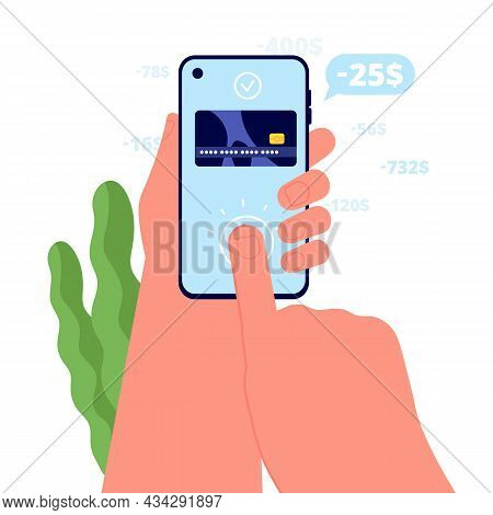 Pay By Phone. Bills Paid, Ecommerce Mobile Services. Hand Hold Smartphone And Approved Payments. Cre