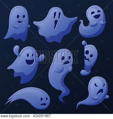 Spooky Ghost. Cartoon Ghosts, Ghostly Shadows Or Spirits. Funny Cute Transparent Phantom, Halloween