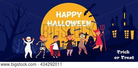 Happy Halloween Kids. Kid In Costume At Night, Trick Or Treat Party. Children Group Banner, Cute Cre