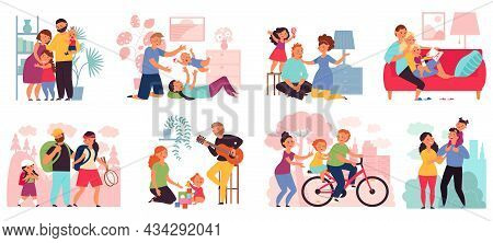 Family Spend Time Together. Happy Parents With Children, Mother Father Kids Walking, Ride And Play.