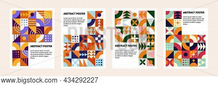 Contemporary Geometric Banners. Abstract Bauhaus Posters, Artwork Tiles With Diverse Shapes. Minimal