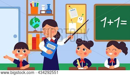 Student Learning In Classroom. College Teacher, Student At Desks. Lecture Or Discussing, Young Schoo