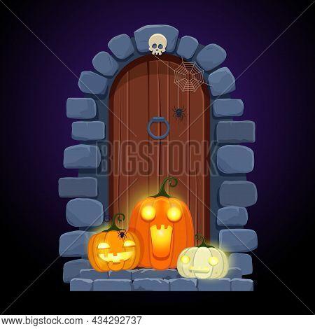 Halloween Door Decorations. Front Door With Glowing Pumpkins In Night . Cartoon Halloween Greeting C